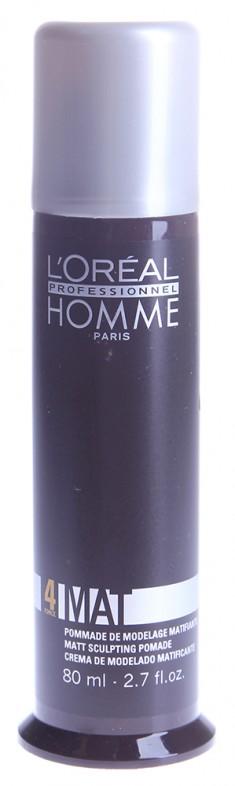 L'OREAL PROFESSIONNEL Крем-паста матирующая для гибкой, эластичной фиксации 4, для мужчин / HOMME 80 мл LOREAL PROFESSIONNEL