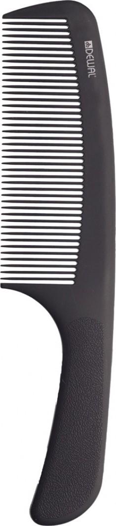 DEWAL PROFESSIONAL Расческа рабочая Super thin с ручкой, широкая, антистатик (черная) 20,5 см
