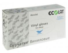 ECOLAT Перчатки виниловые, прозрачные, размер XL / EcoLat 100 шт