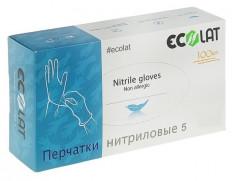 ECOLAT Перчатки нитриловые, голубые, размер L / 5 EcoLat 100 шт