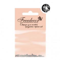Freedecor, Стразы для ногтей черные, прозрачные, 1,8 мм