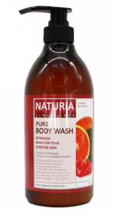 EVAS Гель для душа Клюква - апельсин / NATURIA PURE BODY WASH, Cranberry & Orange 750 мл