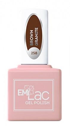 E.MI 258 GL гель-лак для ногтей, Коричневый гранит / E.MiLac 6 мл