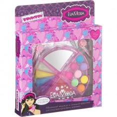 Bondibon Eva Moda набор детской декоративной косметики Косметичка-долька с зеркалом 4х-уровневая (тени 8 оттенков, блеск для губ 6 оттенков)