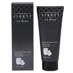 гель очищающий отшелушивающий с углем jigott premium х la miso charcoal deep clean peeling gel