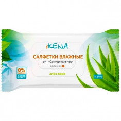 iKENA салфетки влажные антибактериальные Алоэ Вера N10