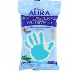 Aura Antibacterial Derma Protect Салфетки влажные антибактериальные Алоэ N15